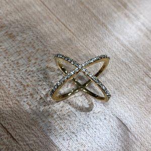 Gold Crisscrossing Ring